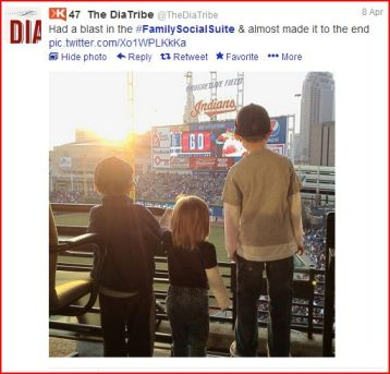 A tweet from the April 8th visit to the #FamilySocialSuite from @TheDiaTribe.