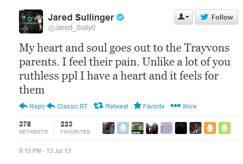 Jared Sullinger's tweet in reaction to the Zimmerman verdict.