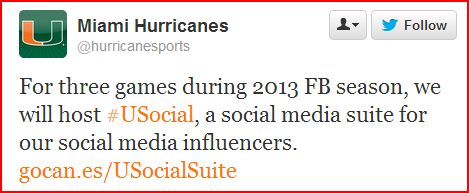 The Sports Strategy of Social Media Influencers: The Miami Hurricanes #USocial Suite