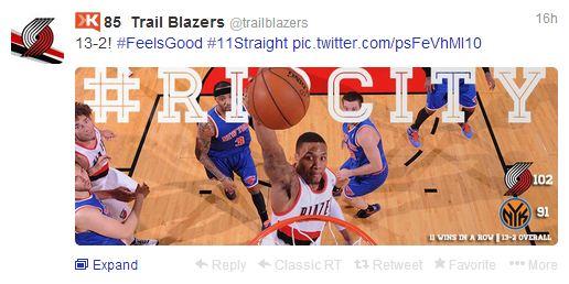 Trailblazers tweet