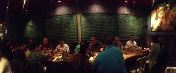 A group of #q1SFE15 participants shared a meal together after the first day of the forum.